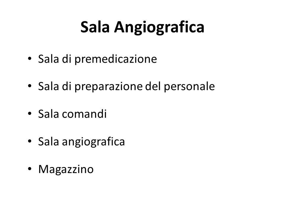 Sala Angiografica Sala di premedicazione Sala di preparazione del personale Sala comandi Sala angiografica Magazzino
