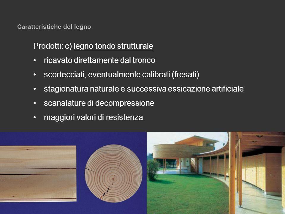 Caratteristiche del legno Prodotti: c) legno tondo strutturale ricavato direttamente dal tronco scortecciati, eventualmente calibrati (fresati) stagio