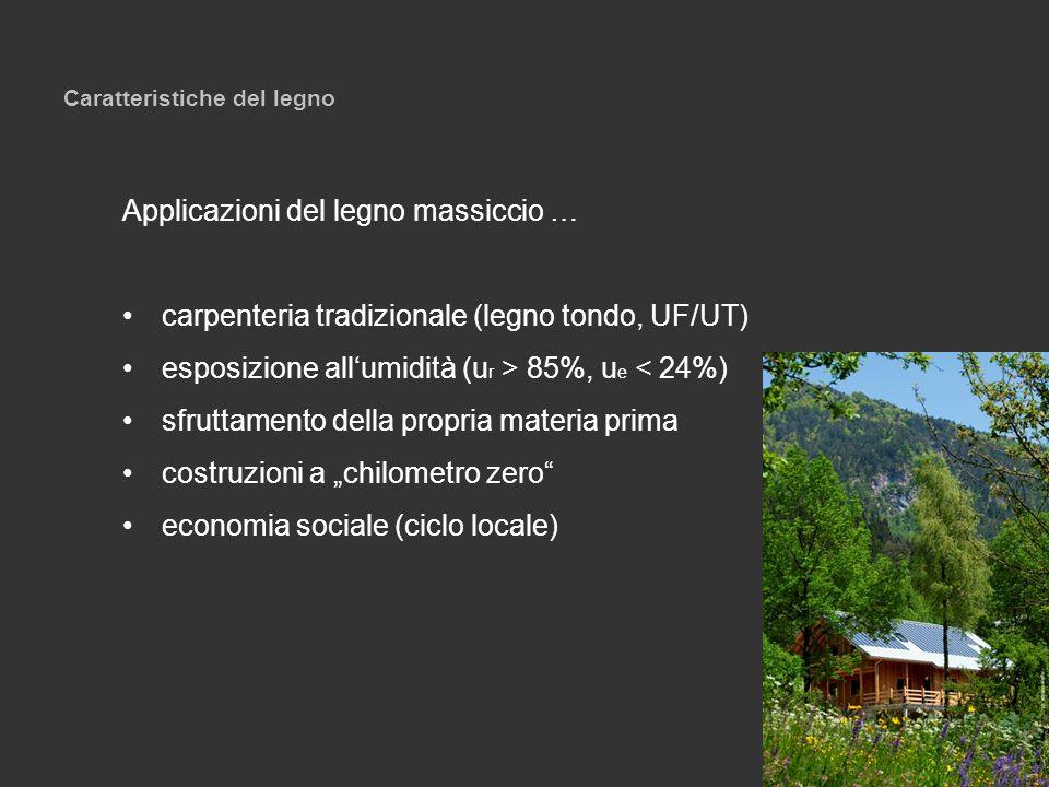 Caratteristiche del legno Applicazioni del legno massiccio … carpenteria tradizionale (legno tondo, UF/UT) esposizione allumidità (u r > 85%, u e < 24