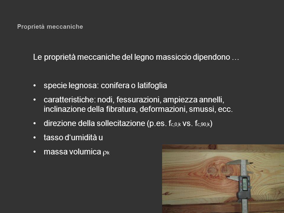 Proprietà meccaniche Le proprietà meccaniche del legno massiccio dipendono … specie legnosa: conifera o latifoglia caratteristiche: nodi, fessurazioni