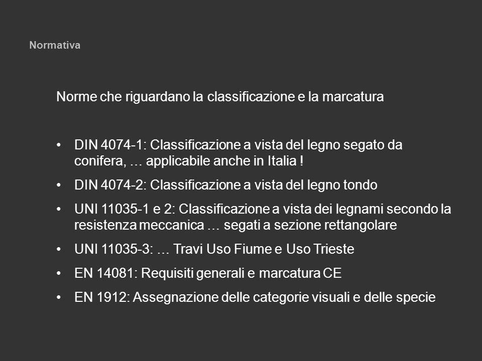 Normativa Norme che riguardano la classificazione e la marcatura DIN 4074-1: Classificazione a vista del legno segato da conifera, … applicabile anche