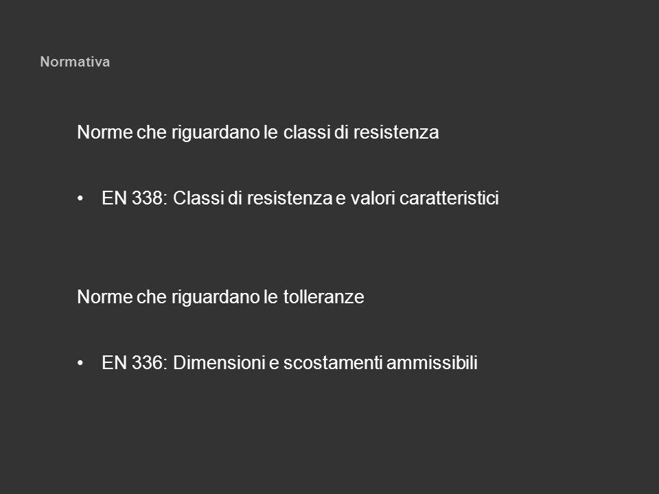 Normativa Norme che riguardano le classi di resistenza EN 338: Classi di resistenza e valori caratteristici Norme che riguardano le tolleranze EN 336: