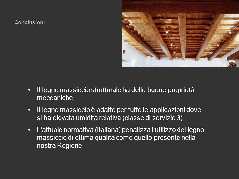 Conclusioni Il legno massiccio strutturale ha delle buone proprietà meccaniche Il legno massiccio è adatto per tutte le applicazioni dove si ha elevat