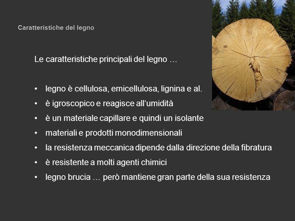 Caratteristiche del legno Le caratteristiche principali del legno … legno è cellulosa, emicellulosa, lignina e al. è igroscopico e reagisce allumidità