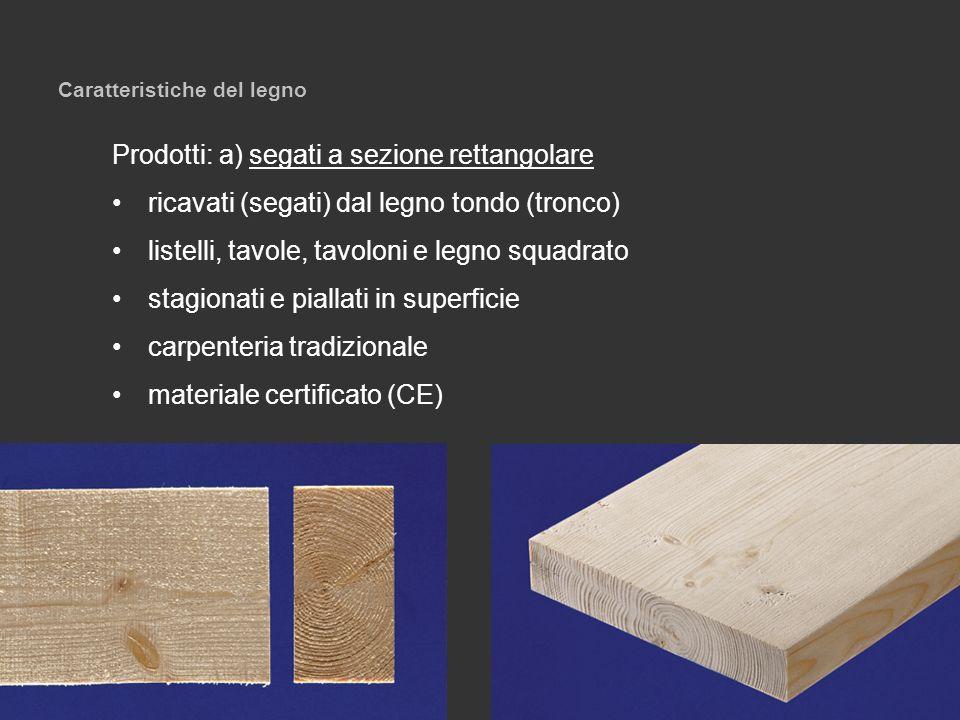 Caratteristiche del legno Prodotti: a) segati a sezione rettangolare ricavati (segati) dal legno tondo (tronco) listelli, tavole, tavoloni e legno squ