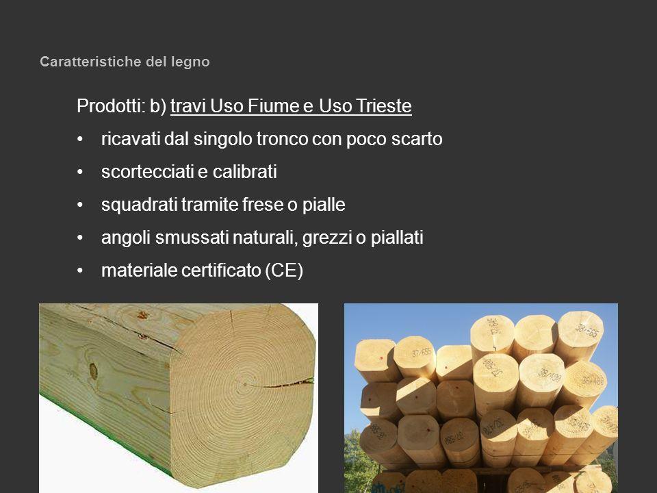 Caratteristiche del legno Prodotti: b) travi Uso Fiume e Uso Trieste ricavati dal singolo tronco con poco scarto scortecciati e calibrati squadrati tr