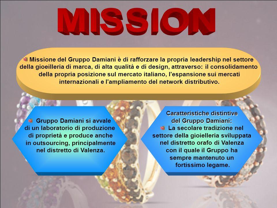 Missione del Gruppo Damiani è di rafforzare la propria leadership nel settore della gioeilleria di marca, di alta qualità e di design, attraverso: il consolidamento della propria posizione sul mercato italiano, l espansione sui mercati internazionali e l ampliamento del network distributivo.