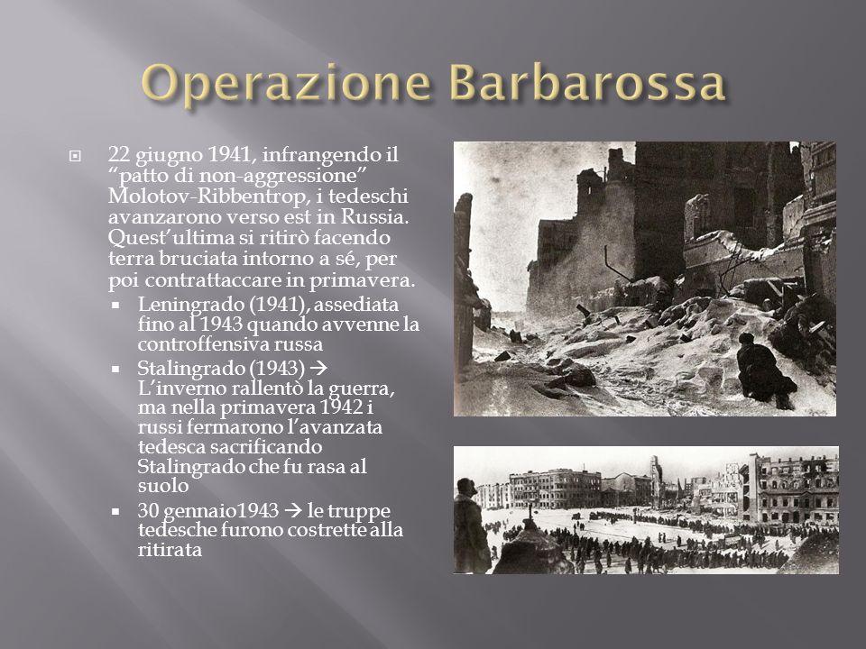 22 giugno 1941, infrangendo il patto di non-aggressione Molotov-Ribbentrop, i tedeschi avanzarono verso est in Russia. Questultima si ritirò facendo t