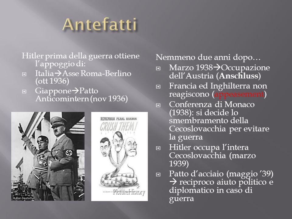 Hitler prima della guerra ottiene lappoggio di: Italia Asse Roma-Berlino (ott 1936) Giappone Patto Anticomintern (nov 1936) Nemmeno due anni dopo… Mar