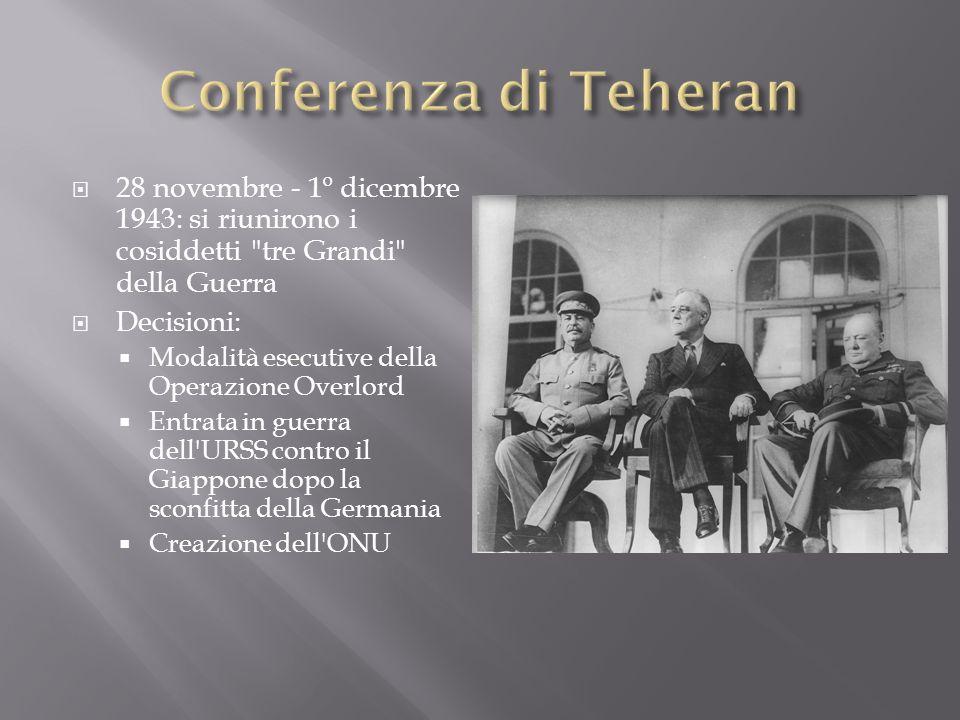 28 novembre - 1º dicembre 1943: si riunirono i cosiddetti