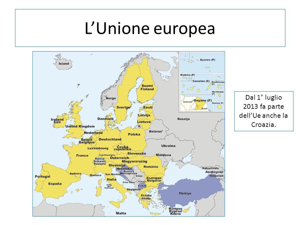 LUnione europea Dal 1° luglio 2013 fa parte dellUe anche la Croazia.
