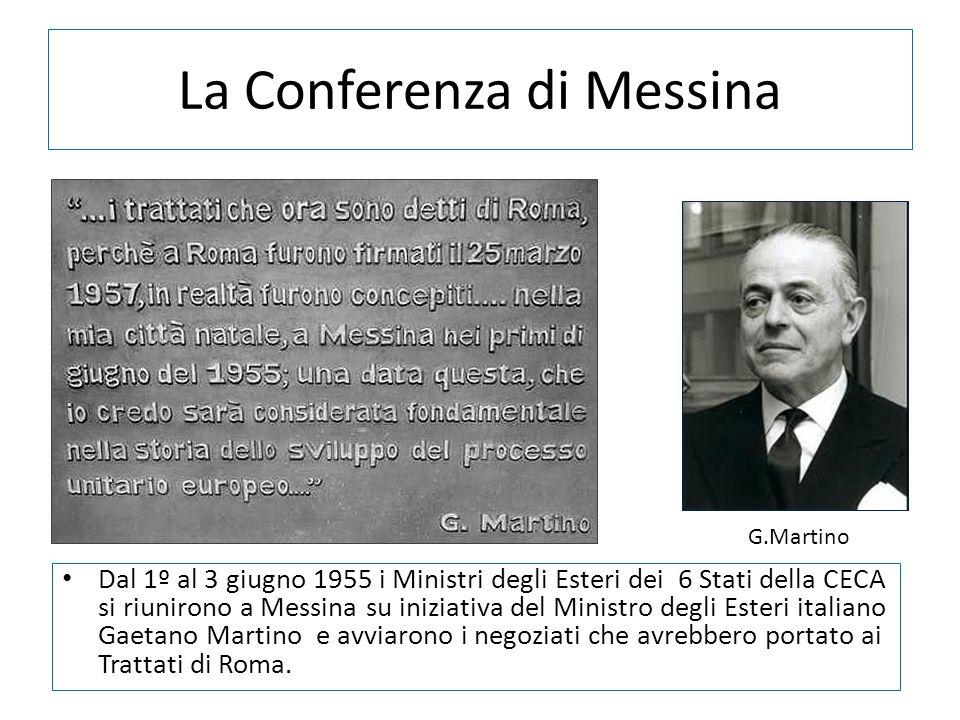 La Conferenza di Messina Dal 1º al 3 giugno 1955 i Ministri degli Esteri dei 6 Stati della CECA si riunirono a Messina su iniziativa del Ministro degl
