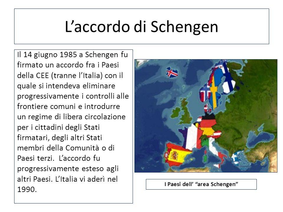 Laccordo di Schengen Il 14 giugno 1985 a Schengen fu firmato un accordo fra i Paesi della CEE (tranne lItalia) con il quale si intendeva eliminare pro
