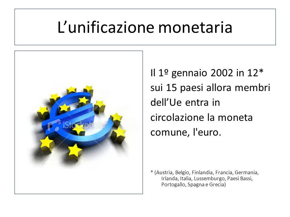 Lunificazione monetaria Il 1º gennaio 2002 in 12* sui 15 paesi allora membri dellUe entra in circolazione la moneta comune, l'euro. * (Austria, Belgio