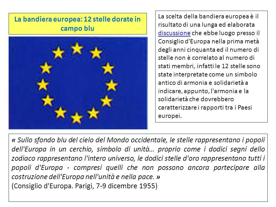 La scelta della bandiera europea è il risultato di una lunga ed elaborata discussione che ebbe luogo presso il Consiglio d'Europa nella prima metà deg