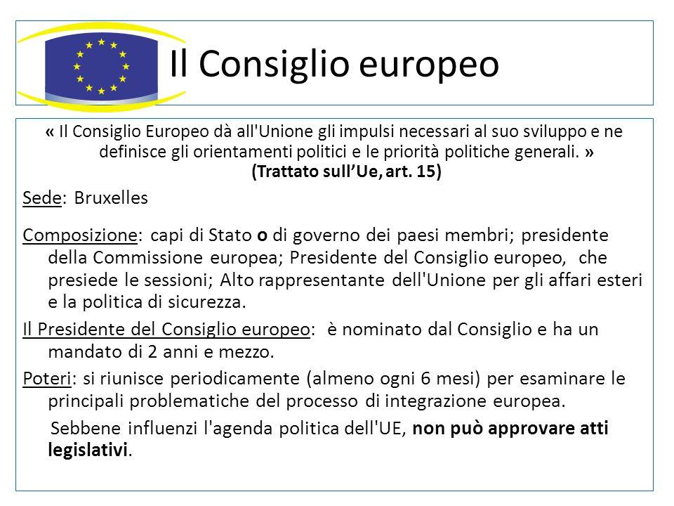 Il Consiglio europeo « Il Consiglio Europeo dà all'Unione gli impulsi necessari al suo sviluppo e ne definisce gli orientamenti politici e le priorità