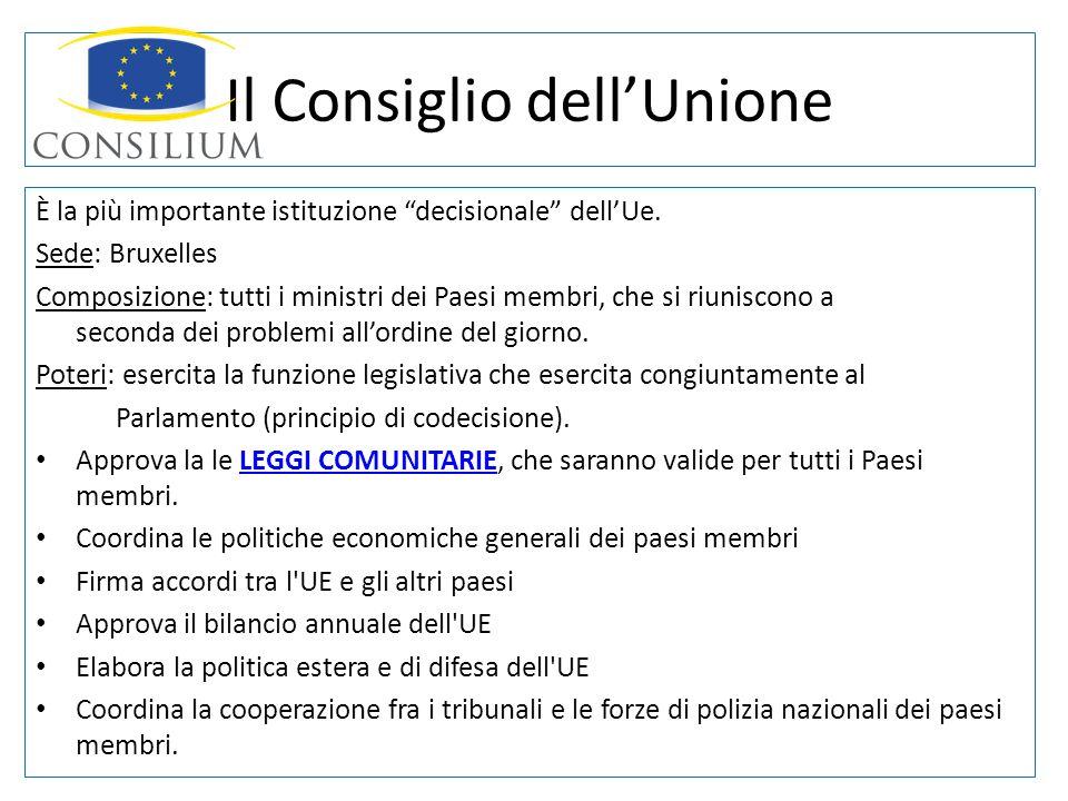 Il Consiglio dellUnione È la più importante istituzione decisionale dellUe. Sede: Bruxelles Composizione: tutti i ministri dei Paesi membri, che si ri