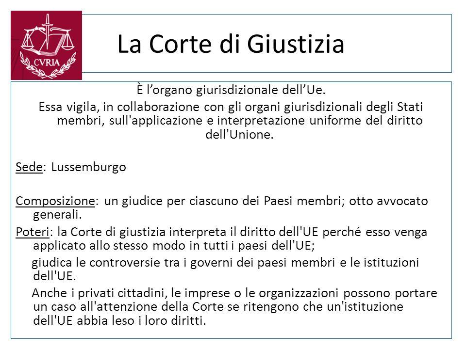 La Corte di Giustizia È lorgano giurisdizionale dellUe. Essa vigila, in collaborazione con gli organi giurisdizionali degli Stati membri, sull'applica