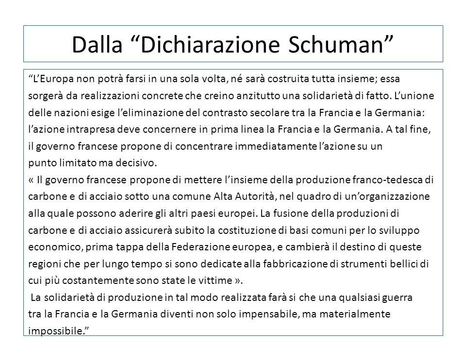 Dalla Dichiarazione Schuman LEuropa non potrà farsi in una sola volta, né sarà costruita tutta insieme; essa sorgerà da realizzazioni concrete che cre
