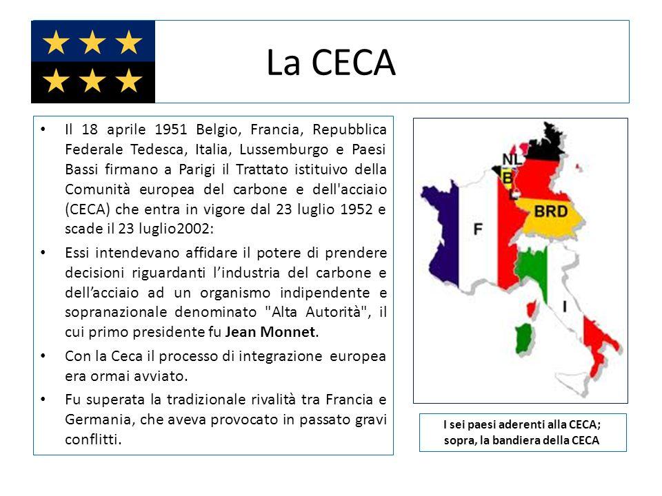 La CECA Il 18 aprile 1951 Belgio, Francia, Repubblica Federale Tedesca, Italia, Lussemburgo e Paesi Bassi firmano a Parigi il Trattato istituivo della