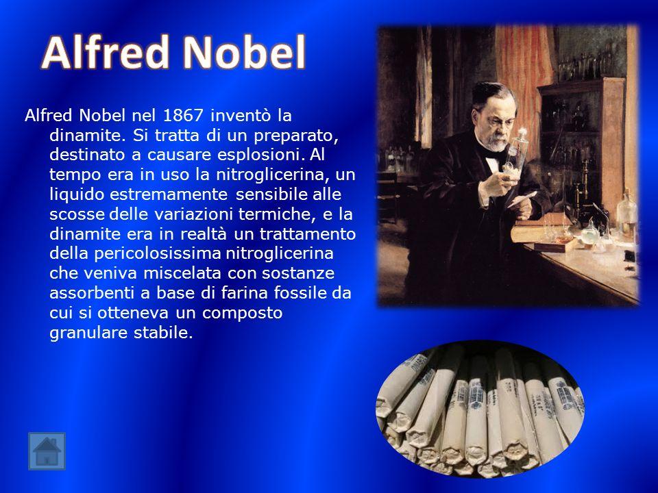 Alfred Nobel nel 1867 inventò la dinamite. Si tratta di un preparato, destinato a causare esplosioni. Al tempo era in uso la nitroglicerina, un liquid
