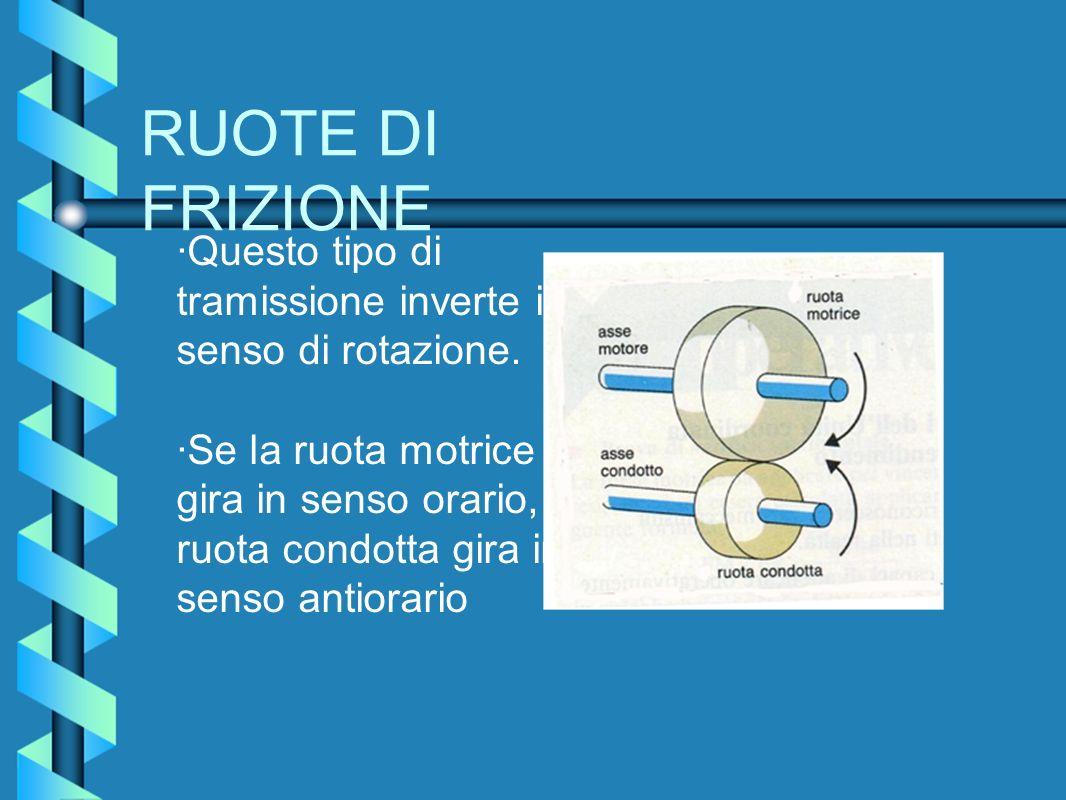 RUOTE DI FRIZIONE ·Questo tipo di tramissione inverte il senso di rotazione. ·Se la ruota motrice gira in senso orario, la ruota condotta gira in sens