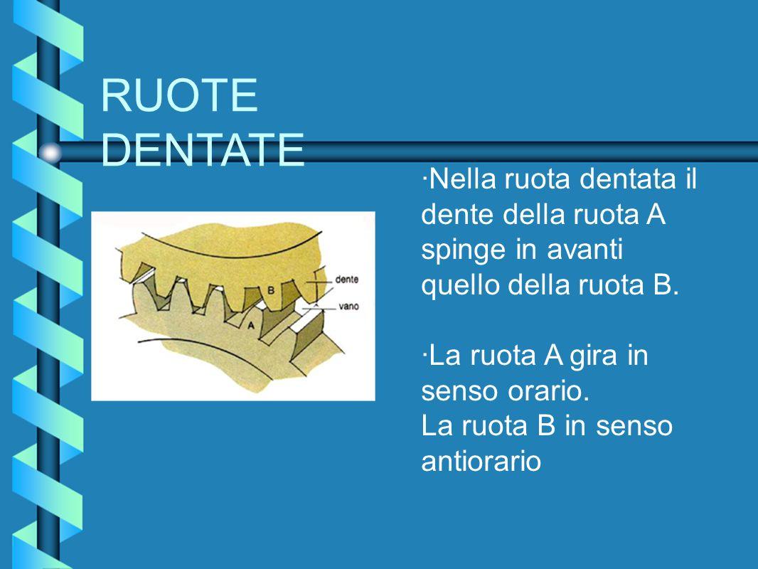 RUOTE DENTATE ·Nella ruota dentata il dente della ruota A spinge in avanti quello della ruota B. ·La ruota A gira in senso orario. La ruota B in senso