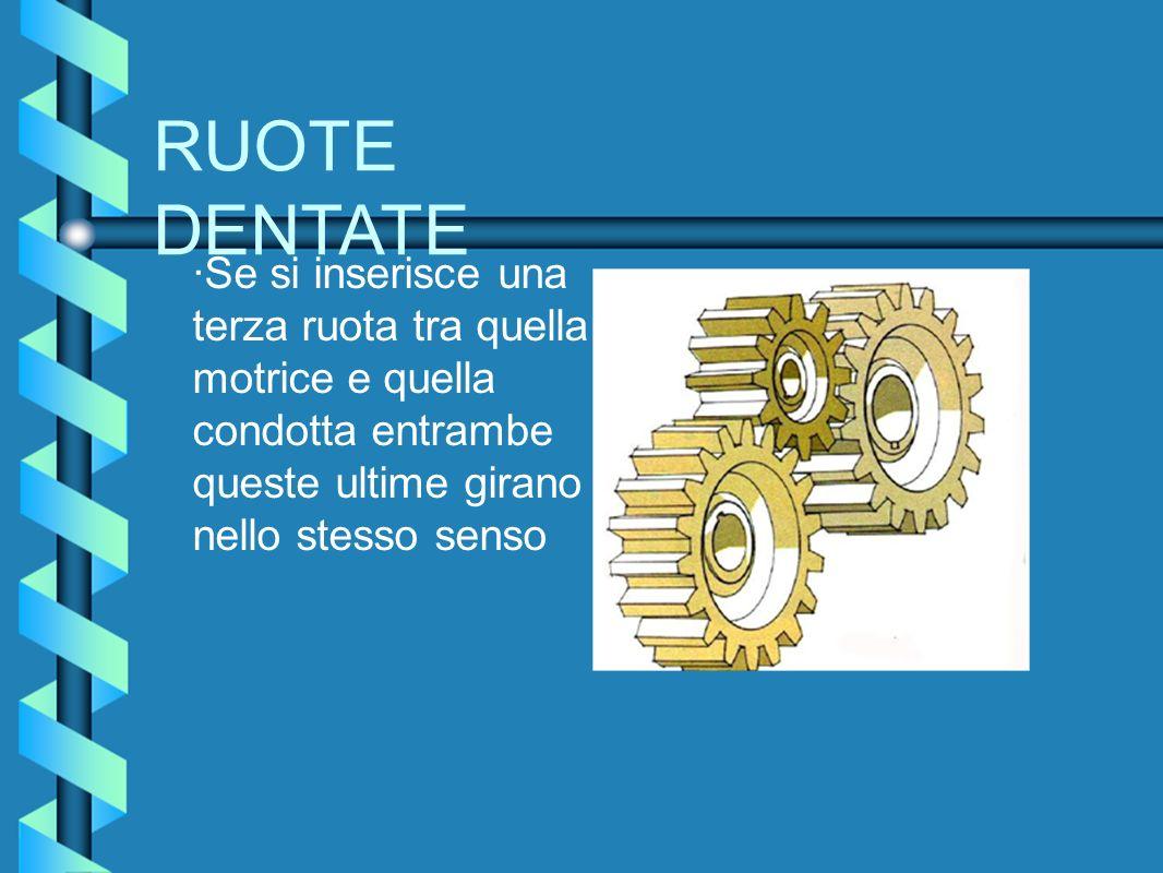 RUOTE DENTATE ·Se si inserisce una terza ruota tra quella motrice e quella condotta entrambe queste ultime girano nello stesso senso