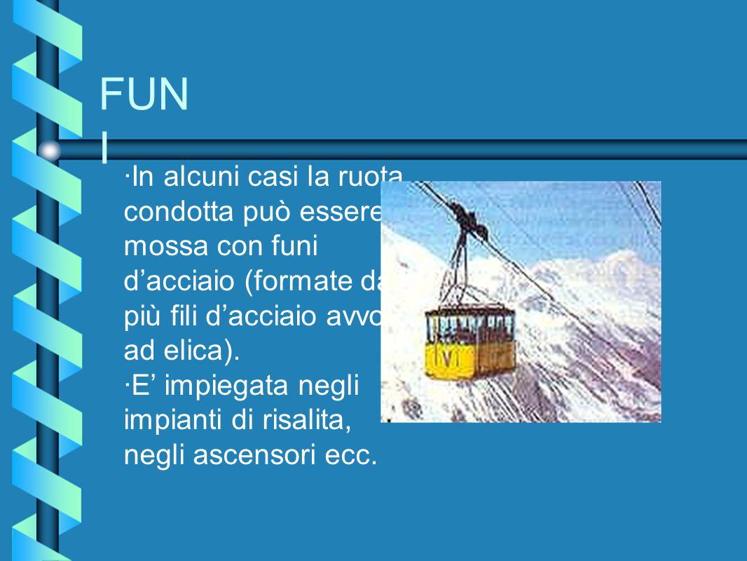 FUN I ·In alcuni casi la ruota condotta può essere mossa con funi dacciaio (formate da più fili dacciaio avvolti ad elica). ·E impiegata negli impiant