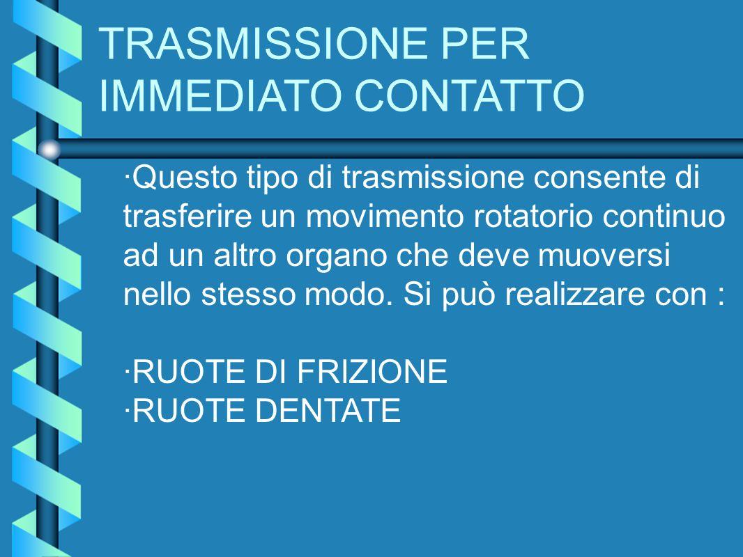 TRASMISSIONE PER IMMEDIATO CONTATTO ·Questo tipo di trasmissione consente di trasferire un movimento rotatorio continuo ad un altro organo che deve mu