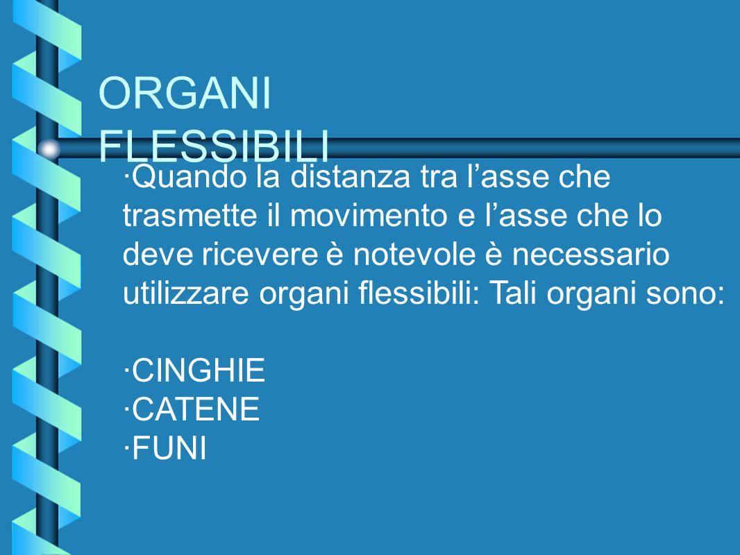 ORGANI FLESSIBILI ·Quando la distanza tra lasse che trasmette il movimento e lasse che lo deve ricevere è notevole è necessario utilizzare organi fles