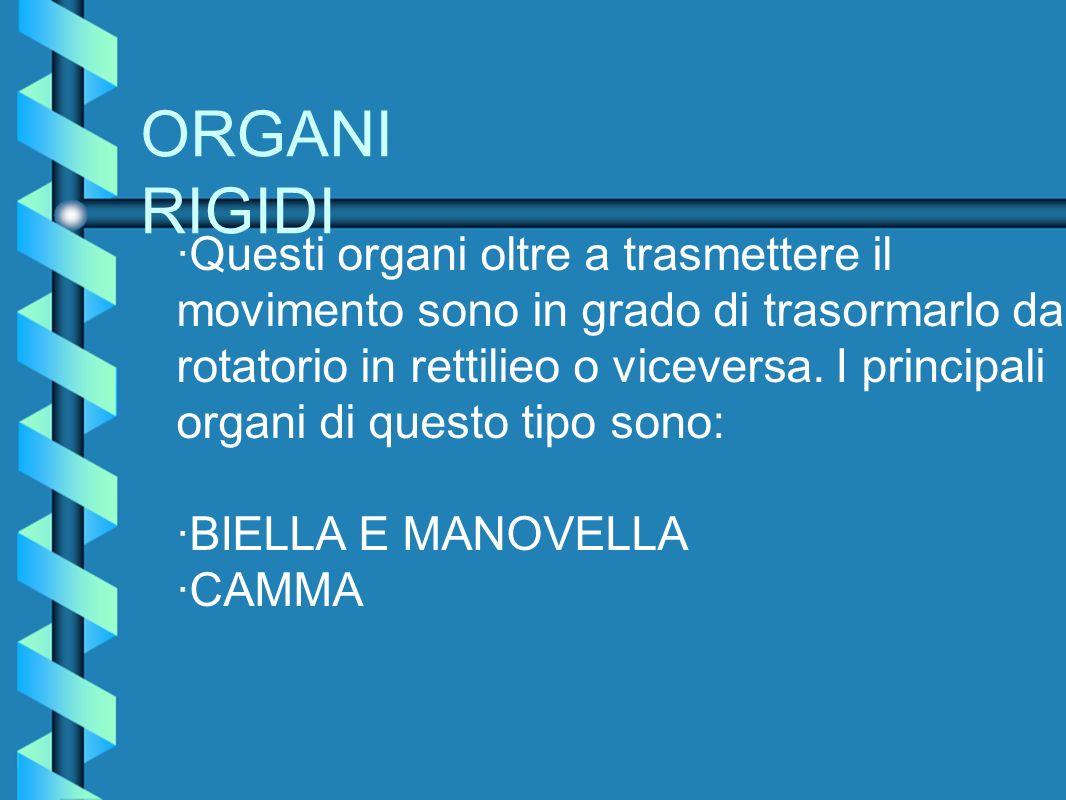 ORGANI RIGIDI ·Questi organi oltre a trasmettere il movimento sono in grado di trasormarlo da rotatorio in rettilieo o viceversa. I principali organi
