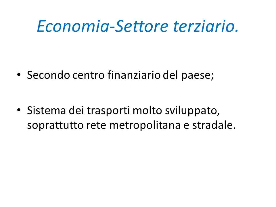 Economia-Settore terziario. Secondo centro finanziario del paese; Sistema dei trasporti molto sviluppato, soprattutto rete metropolitana e stradale.