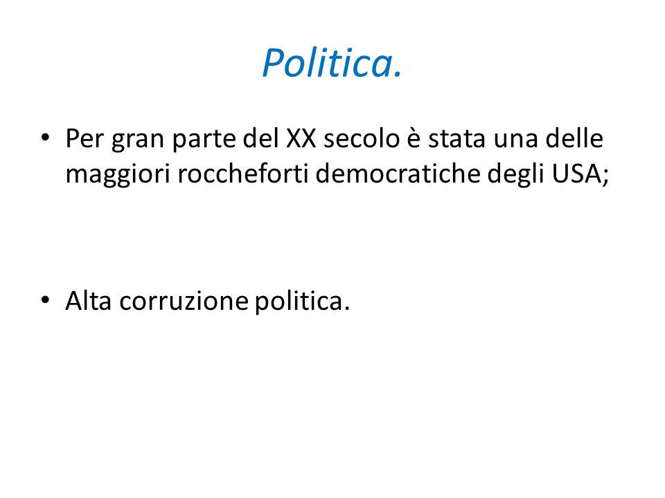 Politica. Per gran parte del XX secolo è stata una delle maggiori roccheforti democratiche degli USA; Alta corruzione politica.