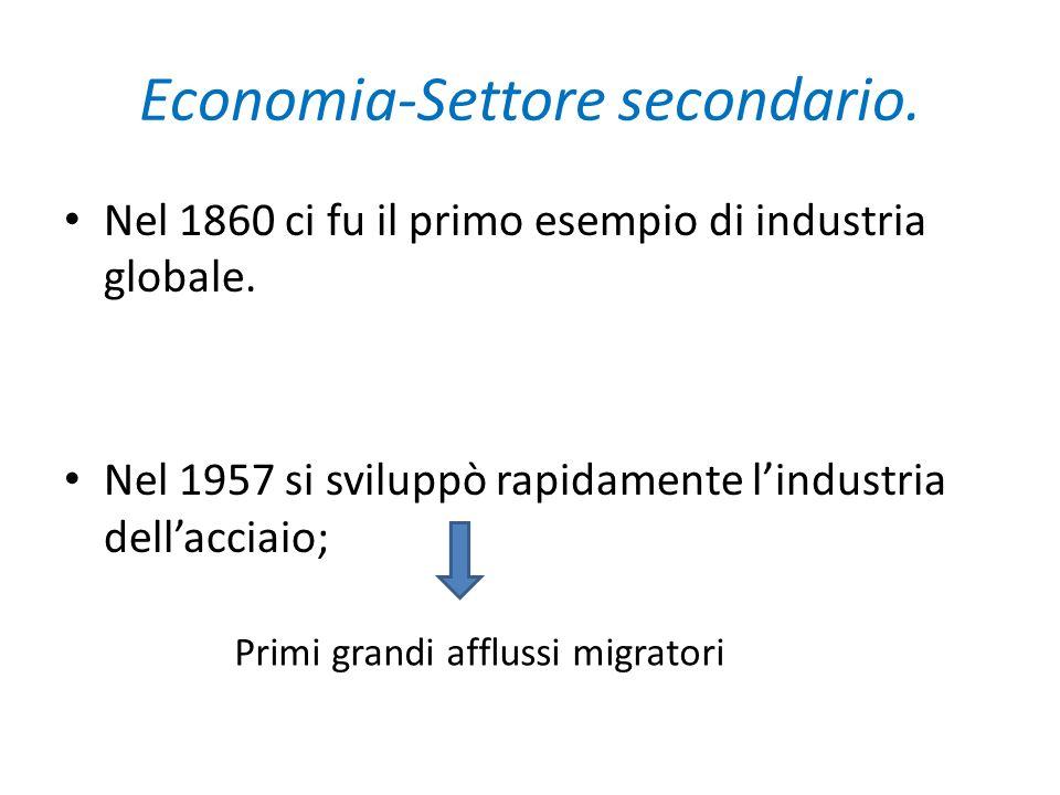 Economia-Settore secondario. Nel 1860 ci fu il primo esempio di industria globale. Nel 1957 si sviluppò rapidamente lindustria dellacciaio; Primi gran