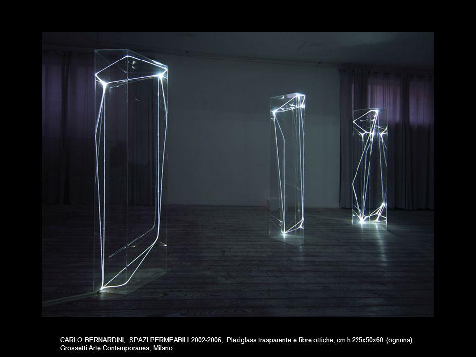 CARLO BERNARDINI, SPAZI PERMEABILI 2002-2006, Plexiglass trasparente e fibre ottiche, cm h 225x50x60 (ognuna). Grossetti Arte Contemporanea, Milano.