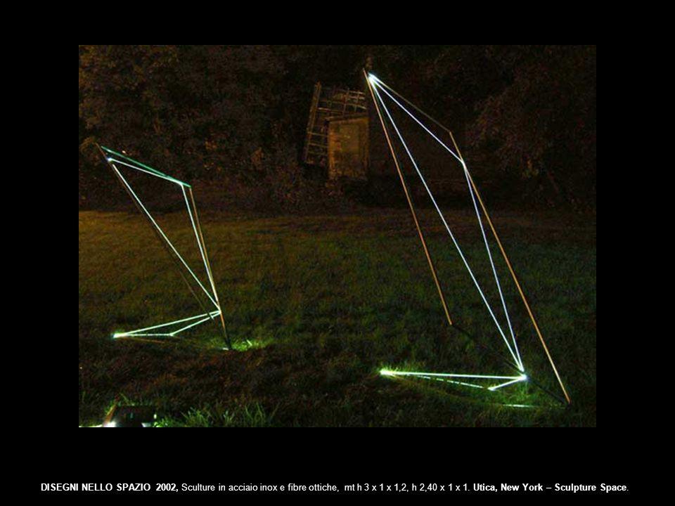 DISEGNI NELLO SPAZIO 2002, Sculture in acciaio inox e fibre ottiche, mt h 3 x 1 x 1,2, h 2,40 x 1 x 1. Utica, New York – Sculpture Space.