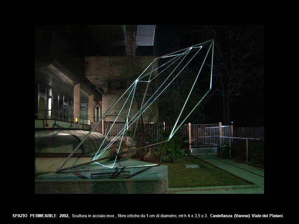 SPAZIO PERMEABILE 2002, Scultura in acciaio inox, fibre ottiche da 1 cm di diametro, mt h 4 x 3,5 x 3. Castellanza (Varese) Viale dei Platani.