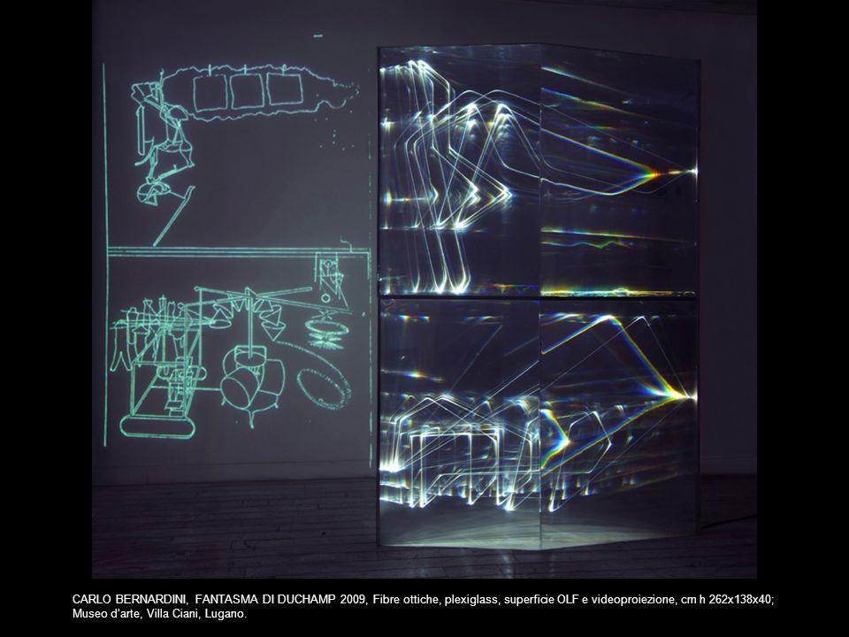 CARLO BERNARDINI, FANTASMA DI DUCHAMP 2009, Fibre ottiche, plexiglass, superficie OLF e videoproiezione, cm h 262x138x40; Museo darte, Villa Ciani, Lu