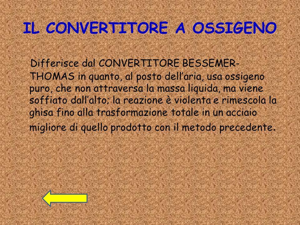IL CONVERTITORE A OSSIGENO Differisce dal CONVERTITORE BESSEMER- THOMAS in quanto, al posto dellaria, usa ossigeno puro, che non attraversa la massa l