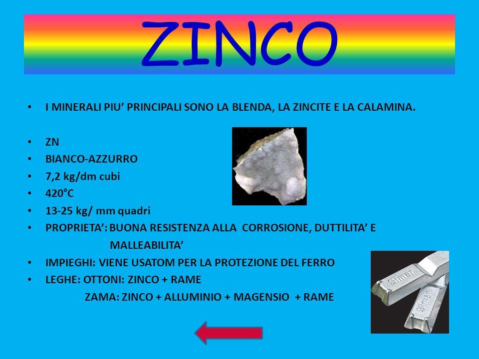 ZINCO I MINERALI PIU PRINCIPALI SONO LA BLENDA, LA ZINCITE E LA CALAMINA. ZN BIANCO-AZZURRO 7,2 kg/dm cubi 420°C 13-25 kg/ mm quadri PROPRIETA: BUONA