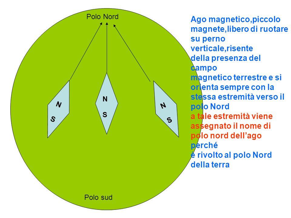 N S Nord geografico Sud geografico Meridiano magnetico Un ago magnetico libero di ruotare su piano orizzontale si dispone sempre lungo il meridiano magnetico parallelo al proprio asse se viene spostato da tale direzione e poi rilasciato libero, ritorna con leggera oscillazione alla direzione iniziale rivolto verso Nord N S Nord geografico Sud geografico Meridiano magnetico
