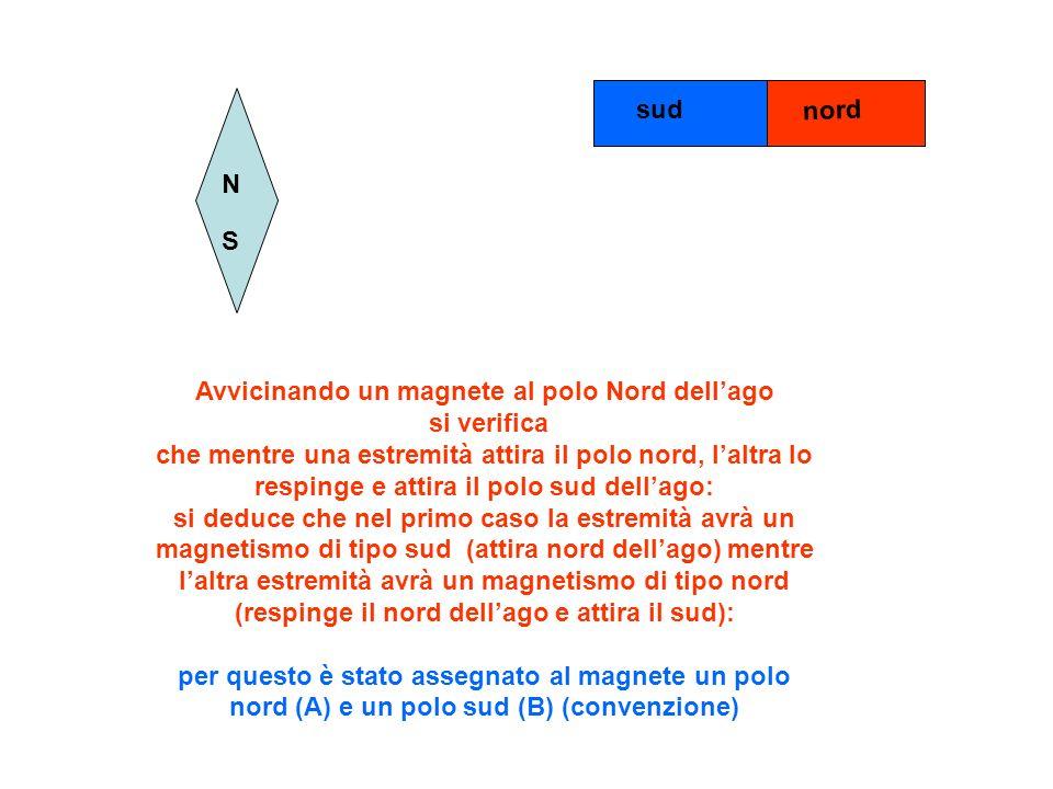 N S Avvicinando un magnete al polo Nord dellago si verifica che mentre una estremità attira il polo nord, laltra lo respinge e attira il polo sud dell