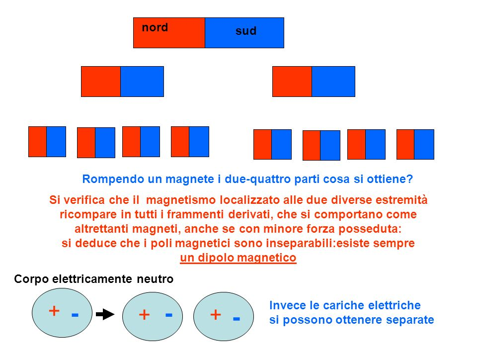nord sud Rompendo un magnete i due-quattro parti cosa si ottiene? Si verifica che il magnetismo localizzato alle due diverse estremità ricompare in tu
