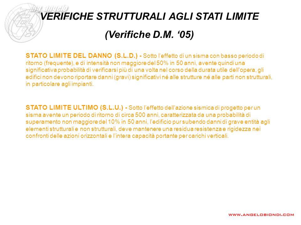 VERIFICHE STRUTTURALI AGLI STATI LIMITE (Verifiche D.M. 05) STATO LIMITE ULTIMO (S.L.U.) - Sotto leffetto dellazione sismica di progetto per un sisma