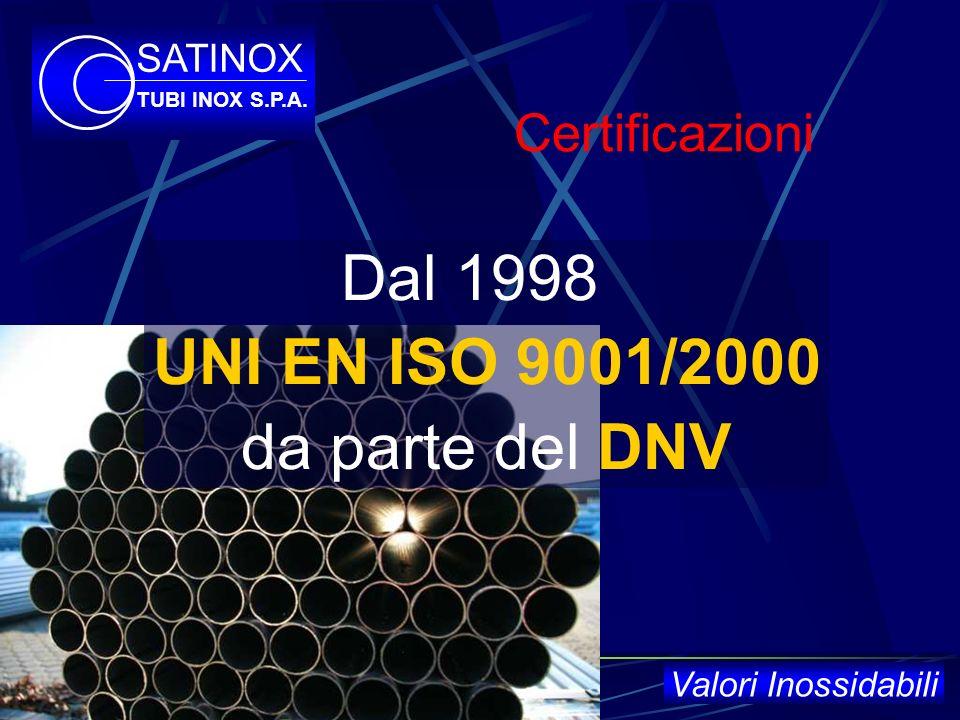 LAzienda 6 stabilimenti (in unarea di 100mila m2)m2) 150 dipendenti 44 linee di saldatura 9 linee di satinatura / lucidatura SATINOX TUBI INOX S.P.A.
