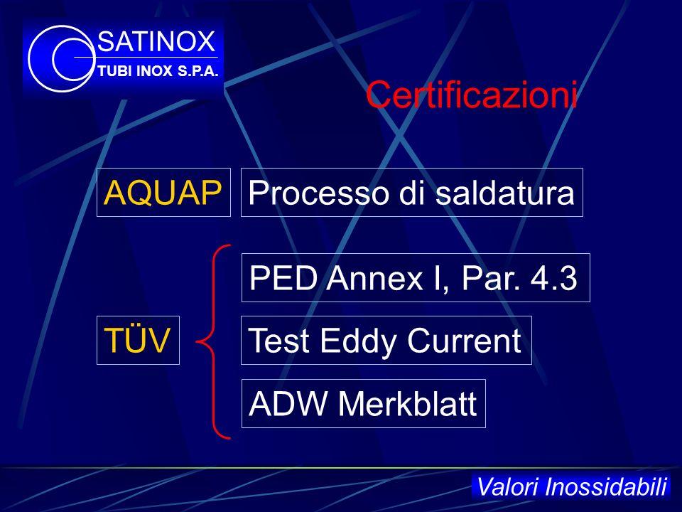 Certificazioni Dal 1998 UNI EN ISO 9001/2000 da parte del DNV SATINOX TUBI INOX S.P.A. Valori Inossidabili