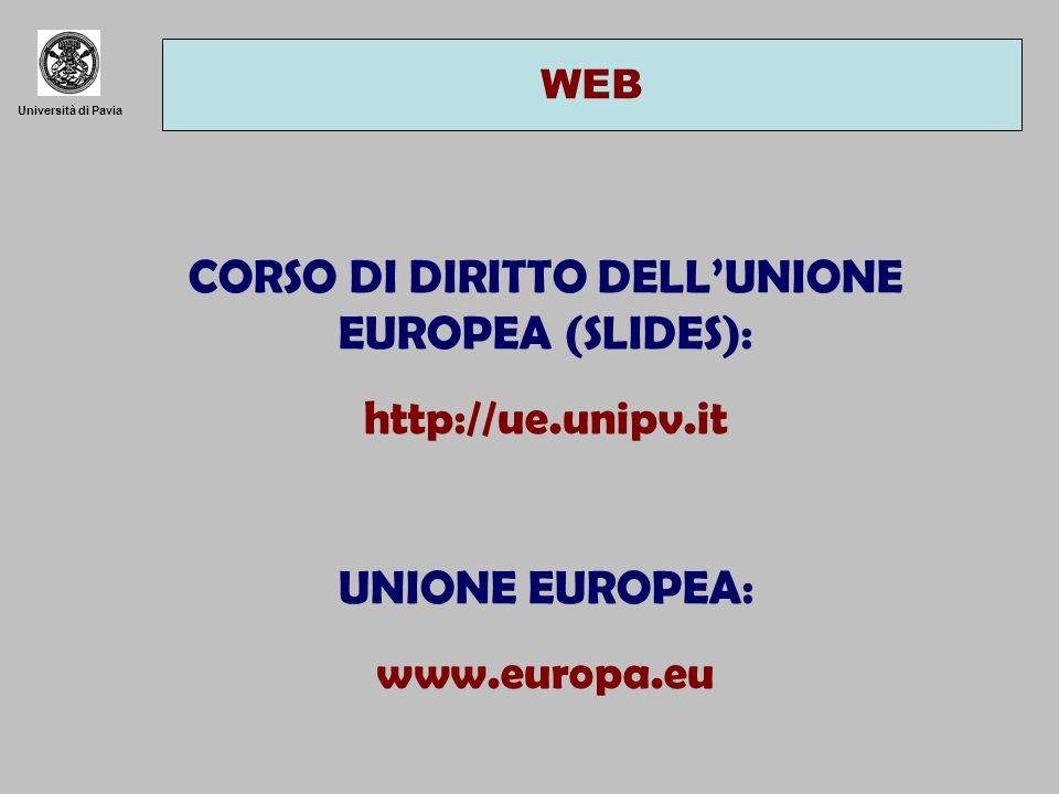 Università di Pavia WEB CORSO DI DIRITTO DELLUNIONE EUROPEA (SLIDES): http://ue.unipv.it UNIONE EUROPEA: www.europa.eu