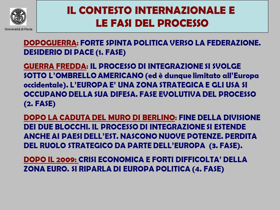 Università di Pavia DOPOGUERRA: FORTE SPINTA POLITICA VERSO LA FEDERAZIONE. DESIDERIO DI PACE (1. FASE) GUERRA FREDDA: IL PROCESSO DI INTEGRAZIONE SI