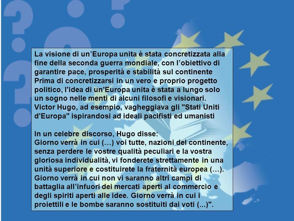 La visione di unEuropa unita è stata concretizzata alla fine della seconda guerra mondiale, con lobiettivo di garantire pace, prosperità e stabilità s
